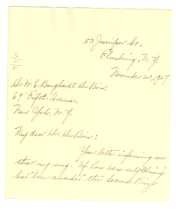 Letter from Jeannette L. Norman to W. E. B. Du Bois