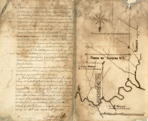 Survey plat of land grants on Caps River, Saint Domingue