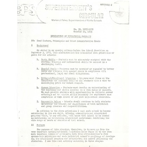 Memo from Superintendent Fahey to school administrators, October 10, 1975.