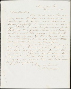F. C. Barber, Augusta, Ga., autograph letter signed to Ziba B. Oakes, 12 March 1855