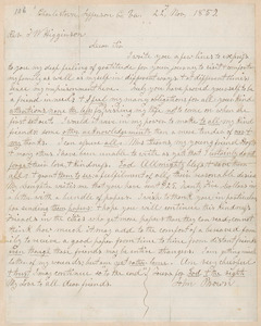 John Brown autograph letter signed to Thomas Wentworth Higginson, Charlestown, Jefferson Co., Va., 22 November 1859