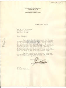 Letter from Dixwell Players to W. E. B. Du Bois