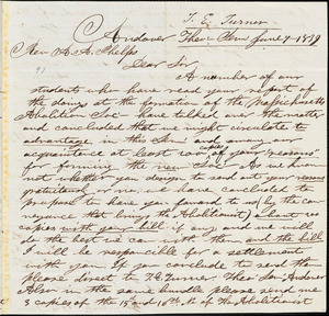 Letter from Amos Augustus Phelps, Andover, [Massachusetts], to T.E. Turner, 1839 June 7