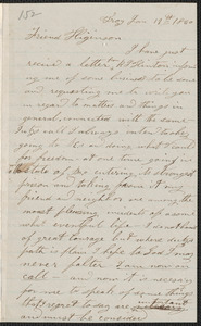 Stephen J. Willis autograph letter signed to Thomas Wentworth Higginson, Troy [N.Y.], 19 January 1860