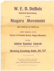 Programme of W. E. B. Du Bois Speech at Shiloh Baptist Church in Washington D.C.