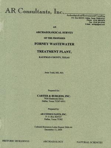 An Archaeological Survey of the Proposed Forney Wastewater Treatment Plant