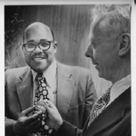 Harry Hogan, the first African-American lieutenant in the Sacramento PD, gets badge from Chief William J. Kinney