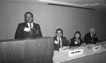 James Cole speaking at an American Bar Association meeting, Los Angeles, 1990