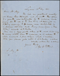 Letter from George W. Putnam, Lynn, [Massachusetts], to Samuel May, 1851 Aug[ust] 10th