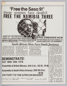 """Flyer announcing """"free the Saso 9"""" protest"""