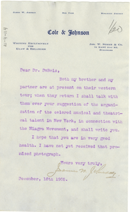 Thumbnail for Letter from James W. Johnson to W. E. B. Du Bois