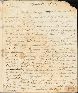 Letter from Robert Rutherford, [Brown County, Ohio], to William Lloyd Garrison, 1834 April 30