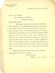 Letter from Chas. W. Chesnutt to W. E. B. Du Bois
