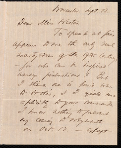 Letter from Thomas Wentworth Higginson, Worcester, [Mass.], to Miss Weston, Sept. 13, [1854]