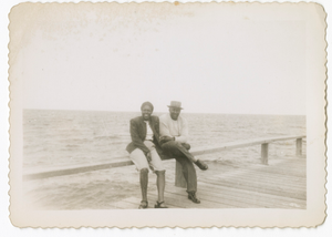 Digital image of a Taylor family man and woman on a pier at Martha's Vineyard