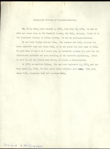 Student family histories: Willingham, Jemmie (Thompson, Bell, Sloan)