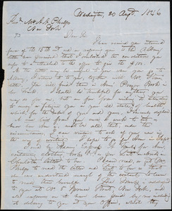 Thumbnail for Letter from Hopeful Toler, Washington, [D.C.], to Amos Augustus Phelps, 1846 Aug[us]t 20