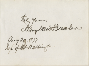 A card signed by Henry Ward Beecher