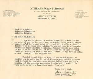 Letter from Aaron Brown, Jr. to W. E. B. Du Bois