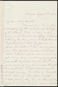 Letter from Louisa Jane Whiting, Concord, to Miss Weston, Sept. 15th, 1855