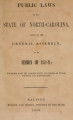 Public laws of the State of North-Carolina, passed by the General Assembly [1858-1859] Public laws of North Carolina.