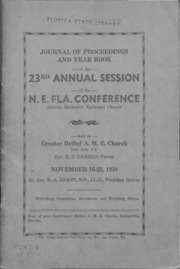 Journal of Proceedings and Year Book of the 23rd Annual Session of the N.E. Fla. Conference, African Methodist Episcopal Church