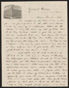 Thomas Wentworth Higginson autograph letter to [Mrs. Mary Elizabeth Channing Higginson], Chicago, 23 February 1860