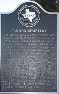 Texas Historical Commission Marker: Cannon Cemetery