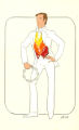 Costume design drawing, male dancer in white tuxedo with a tambourine, Las Vegas, June 5, 1980