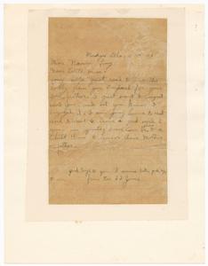Letter to Naomi Long from Reverend S.S. Jones regarding Clarence Long