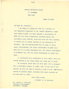 Letter from General Education Board to George D. Brantley