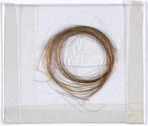 Lock of Theodore Parker's hair, [Boston, Massachusetts], to Caroline C. Thayer