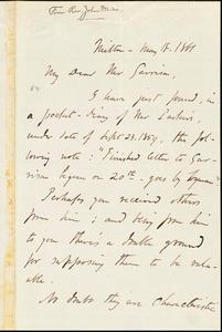 Letter from John Weiss, Milton, [Massachusetts], to William Lloyd Garrison, 1861 May 18