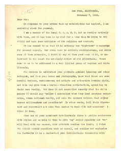 Letter from Anna Porter to Editor of the Crisis