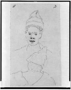 [Head of Negro man wearing cap, front and back view]