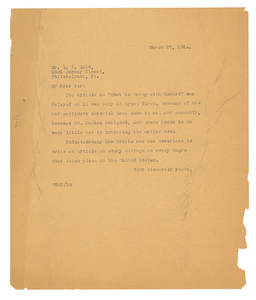 Letter from W. E. B. Du Bois to R. B. Quin