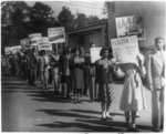 [NAACP youth and student members marching with signs protesting Texas segregation laws, Houston, Texas]