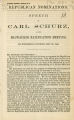 Republican nominations: speech of Carl Schurz, at the Milwaukee ratification meeting, on Wednesday evening, May 30, 1860