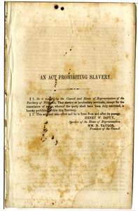 An act prohibiting slavery : [message from the Executive to the House of Representatives of the Territory of Nebraska].