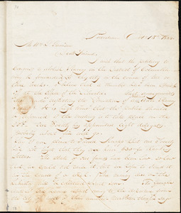 Thumbnail for Letter from Henry Egbert Benson, Providence, [Rhode Island], to William Lloyd Garrison, 1833 Oct[ober] 15th