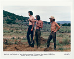 Building adobe house at New Buffalo Commune. Ron Caplan, David Gordon, Martin Stein. Arroyo Hondo, NM. 1967