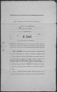A bill to prohibit the importation of slaves