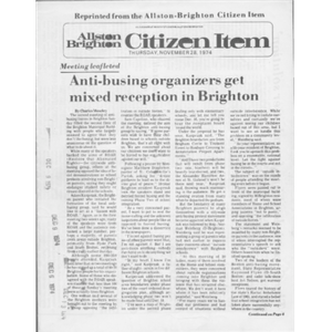Allston Brighton Citizen Item, Thursday, November 28, 1974.