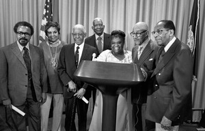 Elma Lewis at City Hall ceremony honoring black artists, Boston