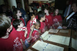 Students from East Clinton Elementary School looking at the original 1819 Alabama constitution on display at the EarlyWorks Museum in Huntsville, Alabama.