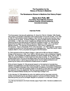Interview Profile and Chapter Summaries: Dr. Gene-Ann Polk, M.D