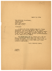 Letter from W. E. B. Du Bois to Alfred A. Knopf, Inc.
