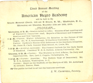 The Third Annual Meeting of the American Negro Academy