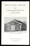 Dedicatory service program, Lizzie Robinson refectory, Mississippi, 1953