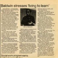 """""""Baldwin stresses 'living to learn'"""""""